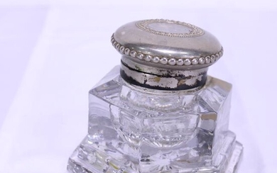 Glass Ink Well with Silver plated Copper Top