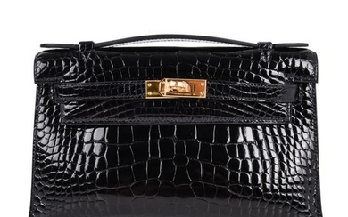 Hermes Kelly Pochette Clutch Bag Shiny Black Alligator