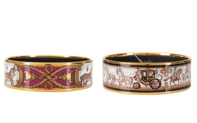 """Hermès Set of Two Horse Themed Wide Printed Enamel Bracelets with Gold Plated Hardware: """"Horse and Carriage"""" Size PM (65) and """"Grand Apparat"""" Size GM (70)"""