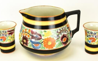 Italian Pottery Hand Painted Pitcher & Cups