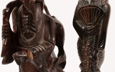 """JAPANESE CARVED WOOD SCULPTURES TWO, H 16"""", GEISHA AND FISHERMAN"""