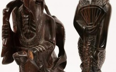 """JAPANESE CARVED WOOD SCULPTURES TWO, H 16"""", GEISHA AND"""
