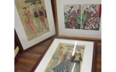 Japanese Meiji reproduction woodblock prints to include Yosh...