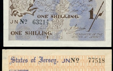 Jersey Occupation currency, World War II, 2/-, ND (1941), serial number 77518, (Banknote Yearbo...