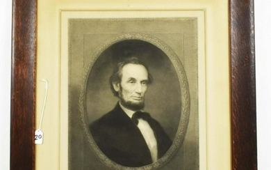 LARGE 19TH C. PHOTOGRAVUE OF ABRAHAM LINCOLN. Painted