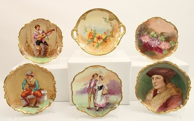 """LOT OF 6 HAND PAINTED FRENCH LIMOGES 10"""" CHARGERS"""