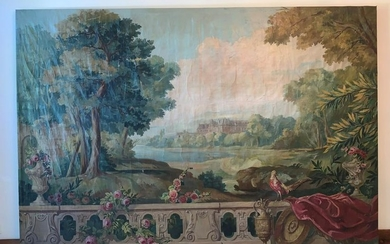 Large French School 18/19th Century Castle Landscape