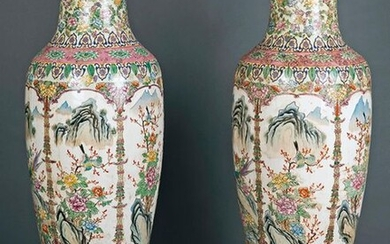 Large pair of vases in glazed Chinese porcelain with bird decoration in landscapes and floral and vegetable motifs. On carved wooden stands. Height: 125 cm. Exit: 10000uros. (166.386 Ptas.)