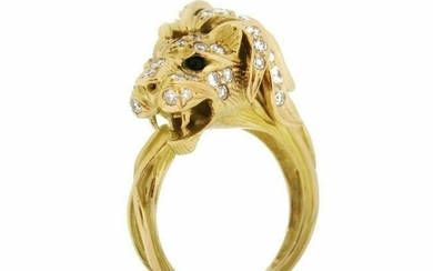 Lion's Head Ring with Diamonds -French maker-in 18k