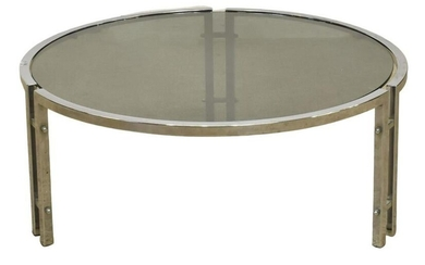 MODERN GLASS-TOP CHROMED STEEL ROUND COFFEE TABLE