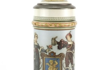 Mettlach pottery stein with pewter lid, incised with