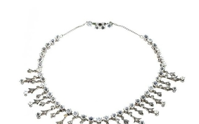 Necklace in silver with stones