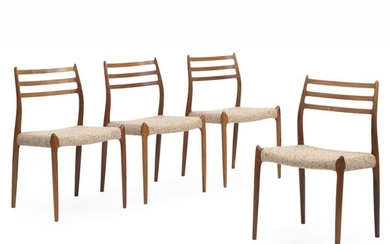 Niels O. Møller: Four rosewood dining chairs. Seat upholstered with light brown wool. (4) –...
