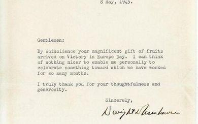ON V-E DAY, EISENHOWER CELEBRATES WITH A GIFT OF FOOD SENT FROM THE STATES