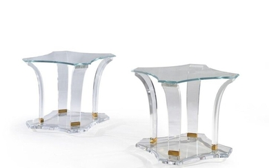 PAIR OF MODERNIST STYLE CANAPE ENDS