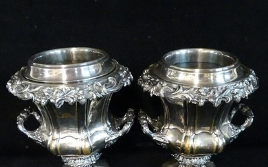 PR. ENGLISH REPOUSSE SILVERPLATE WINE COOLERS WITH