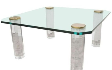 Pace Mid-Century Glass & Lucite Coffee Table