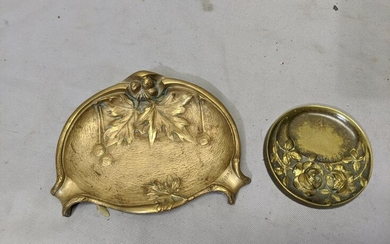 Pair Art Nouveau Brass Pin Jewelry Dishes w/ Roses