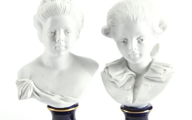 Pair French Sevres Parian Bisque Busts