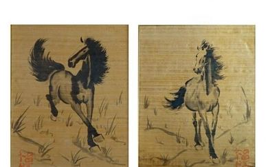 Pair of 20th C. Japanese Horse Paintings