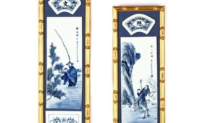 Pair of Chinese Framed Blue & White Porcelain Plaques