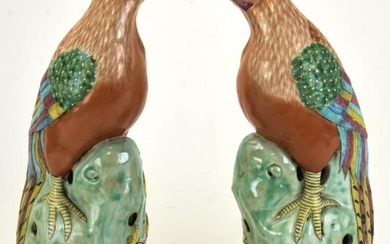 Pair of Chinese Hand Painted Rooster Statues