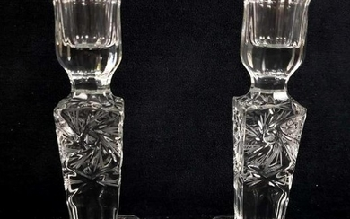 Pair of Cut Crystal Candlestick Holders