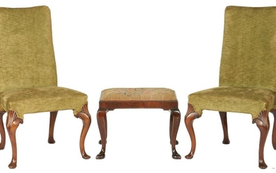 Pair of Irish Queen Anne chairs + footstool