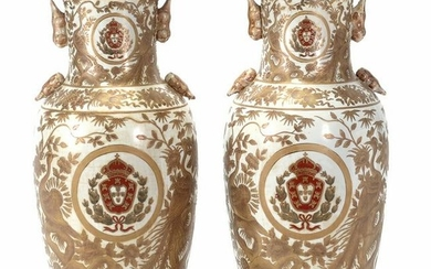 Pair of Large Chinese Porcelain Vases with Gilt