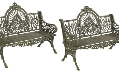 "Pair of ""Peacock""-Pattern Cast Iron Benches"