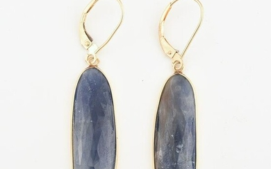 Pair of Sapphire, 14k Yellow Gold Earrings.