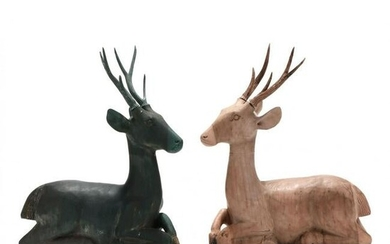 Pair of Southeast Asian Carved Wood Deer
