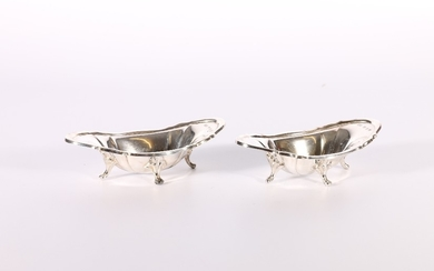Pair of Victorian silver dishes of oblong boat shape raised ...