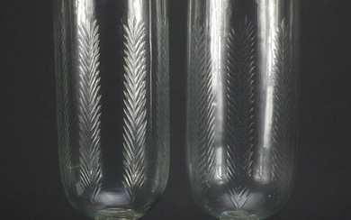 Pair of large Georgian style cut glass vases, each 40cm