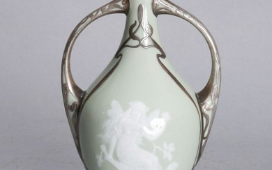 French Pate Sur Pate Double Handled Vase