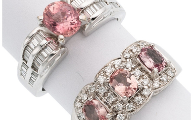 Pink Tourmaline, Diamond, White Gold Rings The lot includes...