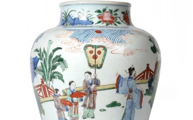 A Chinese Wucai Porcelain Baluster Jar, mid 17th century, painted...
