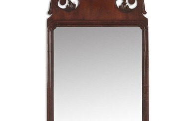 Queen Anne carved mahogany looking glass mid-18th century H:...