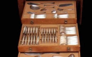Savary - 146pc Sterling Silver Flatware Set + Cabinet