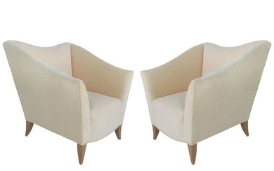 Sculptural Upholstered Club Chairs attributed to