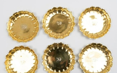 Set of Six George II Silver-Gilt Dishes