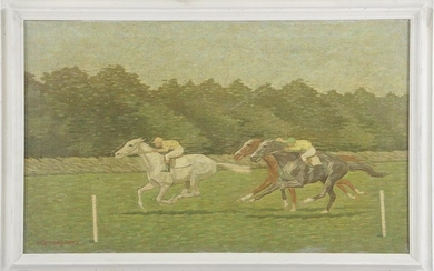 Signed K E Meyer, the horse race, canvas 50x80 cm