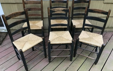Six Antique 19th C Country American Dining Chairs