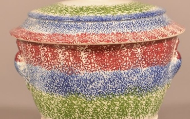 Staffordshire China 3 Color Spatter Covered Sugar Bowl.