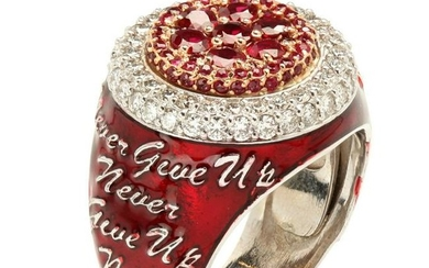 """Stambolian """"Never Give Up"""" Red Enamel Ruby and Diamond"""