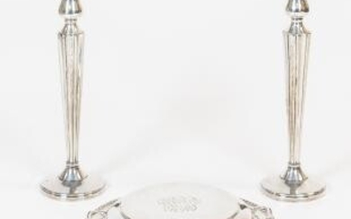 Sterling Silver Covered Tureen and a Pair of Sterling Silver Weighted Candlesticks