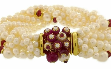 Trianon Pearl Ruby BRACELET with Yellow Gold Clasp Bead