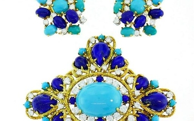 Turquoise Lapis Gold Pin BROOCH Clip EARRINGS Set with