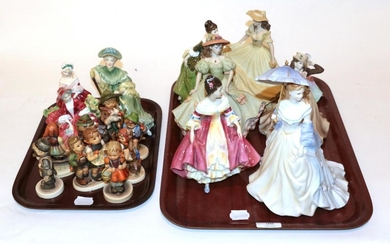 Two trays of Royal Doulton ladies and Goebel figures