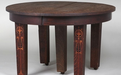 United Specialty Co Five-Leg Inlaid Dining Table c1910